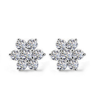 2014 NEW White Snow Flake Earrings 925 Sterling Silver Jewelry For Women Wedding Stud Earrings Free Shipping