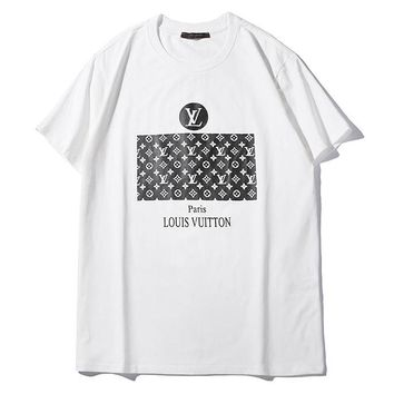 aaaa7da04626 LV Louis Vuitton New Summer Fashion Monogram Print Women Men Top T-Shirt  White