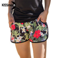 KISSyuer Quick-drying  Red flowers brand Swimming shorts for women Black lovers beach Couple Women Board Shorts KBS1016
