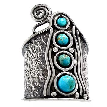 Blue Turquoise Sterling Silver Whimsical Band Ring