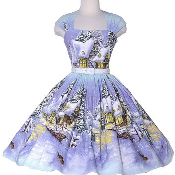 Veronique Pin Up Dress Winter Wonderland print