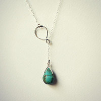 sterling silver infinity turquoise drop lariat necklace, inifinty pendant, unique necklace, statement necklace, vintage style