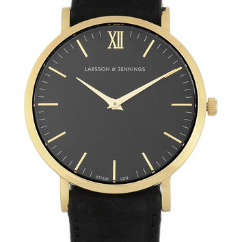 Larsson & Jennings - Läder suede and gold-plated watch