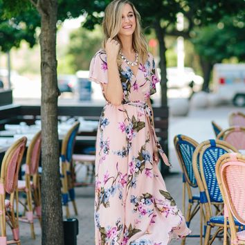 Bethany Blush-Blue Floral Maxi Dress