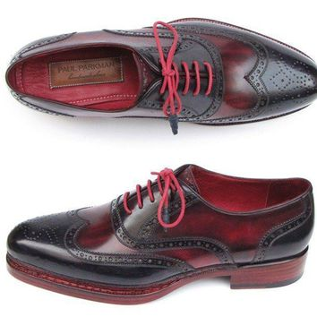 Paul Parkman (FREE Shipping) Men's Triple Leather Sole Wingtip Brogues Navy & Red (ID#027-TRP-NVYBRD)