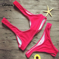 LASPERAL Women Brand Bikini Set 2017 New Summer Sexy Solid Top Thong Brazilian Biquini Sport Suits Beachwear Bathing Suits Femme