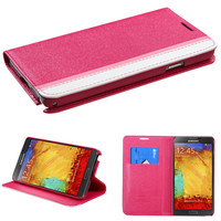 Book-Style Premium Wallet Case for Galaxy Note 3 - Hot Pink/Pink/White