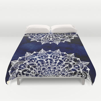 White Lace Medallion on Ink Blue Duvet Cover by Tangerine-Tane