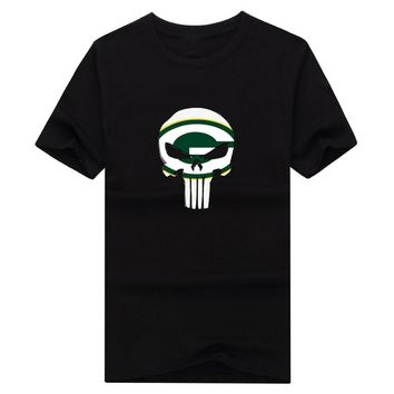 2017 New 100% Cotton green bay Punisher T-shirt funny packers fans skull T Shirt 0119-1