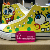 SpongeBob Squ hand-painted, high top canvas shoes