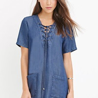 Life In Progress Lace-Up Chambray Dress