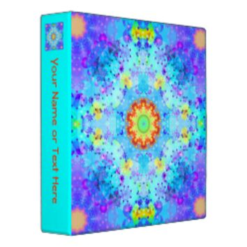 Blue Star Hippy Mandala Patterned 3 Ring Binders