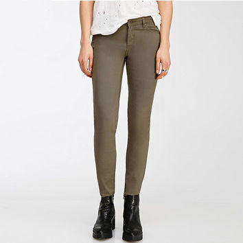 Olive Green Slim Pants With Pockets