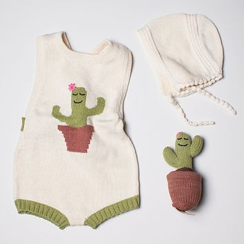 Estella Organic Cotton Baby Gift Set With Bonnet Hat, Handmade Cactus Toy, and Baby Romper 0–3M