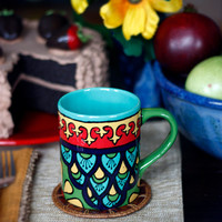 "Teal, Green & Red Talavera Style Mug/Coffee Cup -- ""Royal Peacock"""
