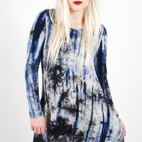 Winter Tie Dye Dress - Navy