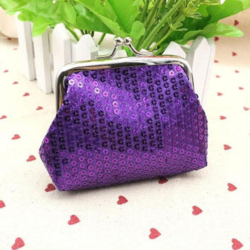 Small Sequin Purple Card/Coin Clutch