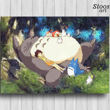 Totoro and friends poster anime art manga decor