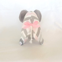 Baby Elephant Plushie Toy--Pink Grey Chevron Elephant--Nursery Decor--Shower Decor/Gift