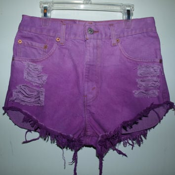 Destroyed Purple Ombre Vintage Levi's 505 Denim Shorts by Azita001