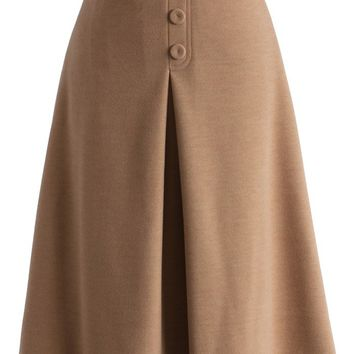 Retro High Waist Full Skirt in Tan