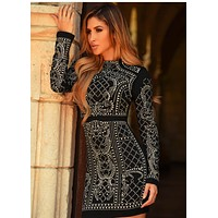 Viva Black long sleeve beading luxury handmade dress