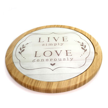 Tabletop Live Love Glass Cutting Board & Lazy Susan Set Tabletop