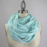 mint sparkly skull infinity scarf MORE COLORS by gertiebaxter