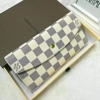 LV classic checkerboard old flower button wallet clip