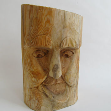Wood Spirit Carving Hand Carved Rustic Decor Whimsical  Wizard Wood Sculpture Fantasy Birthday Anniversary Gift Stress Reducer Shelf Decor