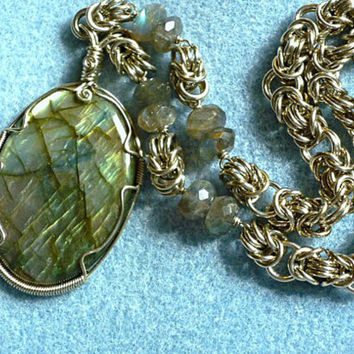 Natural stone necklace, labradorite wire wrapped jewelry handmade, wire wrapped pendant necklace, chainmaille necklace, stone jewelry