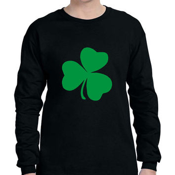 Men's Long Sleeve Green Shamrock Graphic St Patrick's Day Shirt