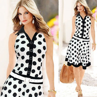 Summer Sleeveless Polka Dot Print Pin up Business Office Dress Vestidos Femininos Kleider Vetement Robe Femme Elbise = 1946945796