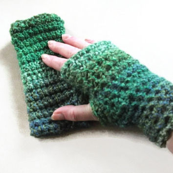 Small Crochet Fingerless Mittens/Gloves in Greens. Fashion Accessories. Wristwarmers, Handwarmers. Winter Warmers.