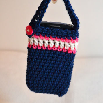 Smartphone Holder, Navy Phone Cozy, Pink and White Stripe, Crochet Phone Case,  iPhone Case,  Cell Phone Holder,