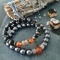 Men's Bracelet Set | Onyx Hematite & Carnelian | Unisex Mens Man | Buddha Spiritual Balance Power Protection | Gift for Him | Root Chakra