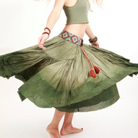 Long fluffy green skirt dip dyed OOAK Medium on waist by Shovava