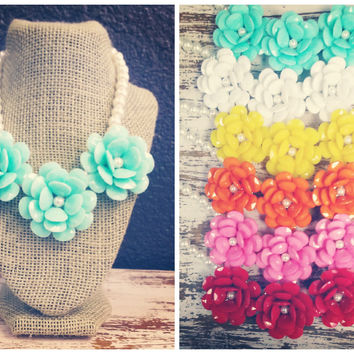 Rosette With Pearls Statement Necklace