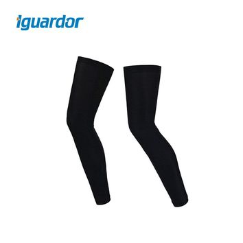 iguardor Anti-UV Cover One Pair Outdoor Cycling Unisex Sun Protection UV Cover Compression Leg Sleeve Bike Accessories- Black