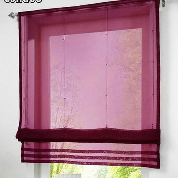 RU Popular Solid Color Sheer Voile Roman Blinds Curtain For Balcony Kitchen  Rod-packet 1PC