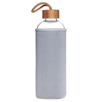Life4u Sports Borosilicate Glass Water Bottle With Bamboo Lid Bpa Free 32 oz