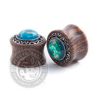 Green Opal Tribal on Wood Plugs