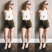A High Waisted Cutoff in Olive