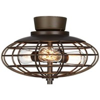 Oil Rubbed Bronze Industrial Cage 3-60 Watt Ceiling Fan Light Kit - #Y2846-U8886 | LampsPlus.com