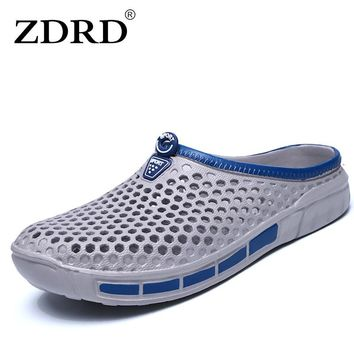 ZDRD men Summer casual fashion sandals Cro shoes cs home male beach slippers funny mans slipony flip flops men bathroom slippers