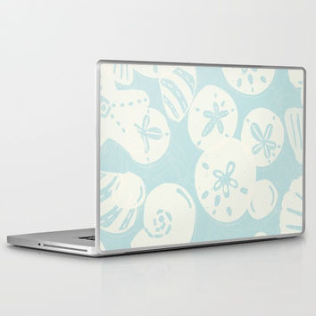 Cream Seashells on Aqua Laptop & iPad Skin by Noonday Design