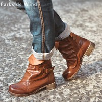 Parkside Wind New Polished Women's Boots Brand Pleated Shoes for Woman High Quality PU Leather Flat Ankle Boot Women's Shoes
