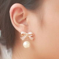 NT0046 Personalized bow pearl earrings
