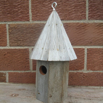 Redwood barn board birdhouse - Weathered birdhouse - Anniversary gift - Salvaged barn board birdhouse - Outdoor birdhouse - Round birdhouse