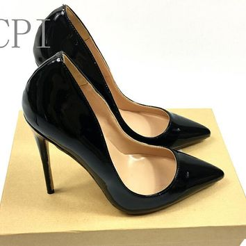Women Brand Sexy Pointed Toe Patent Leather high Heels Pumps Shoes Women Heels Party Wedding Shoes high quality